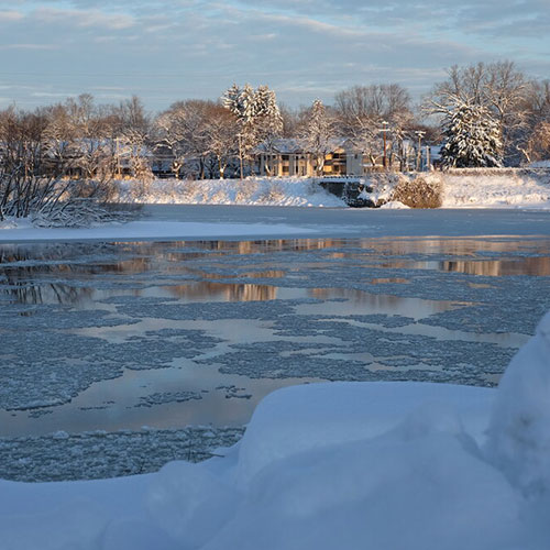 River with ice in it