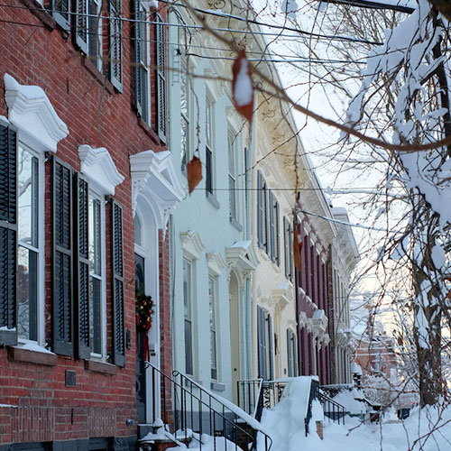 Row of houses and trees covered in snow