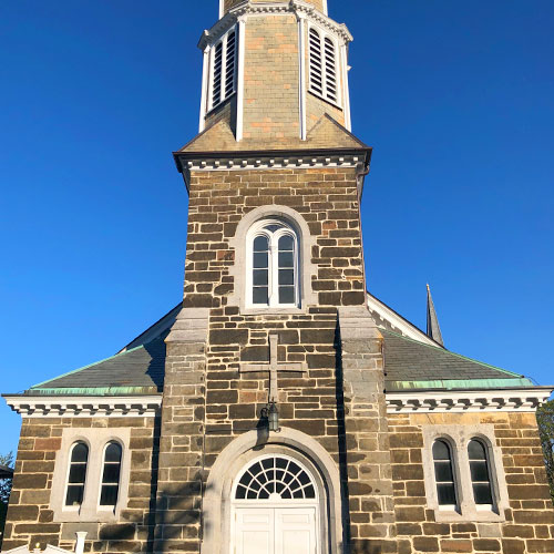Church steeple with blue sky