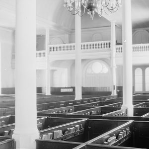 Inside church with pews