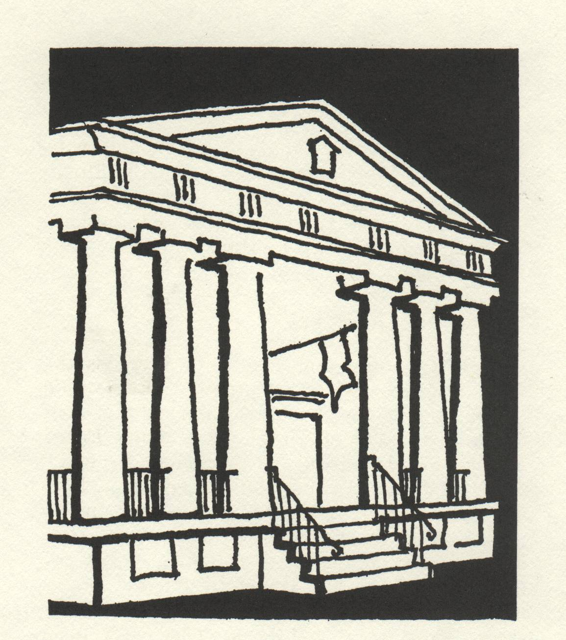 drawing of building with 6 giant columns