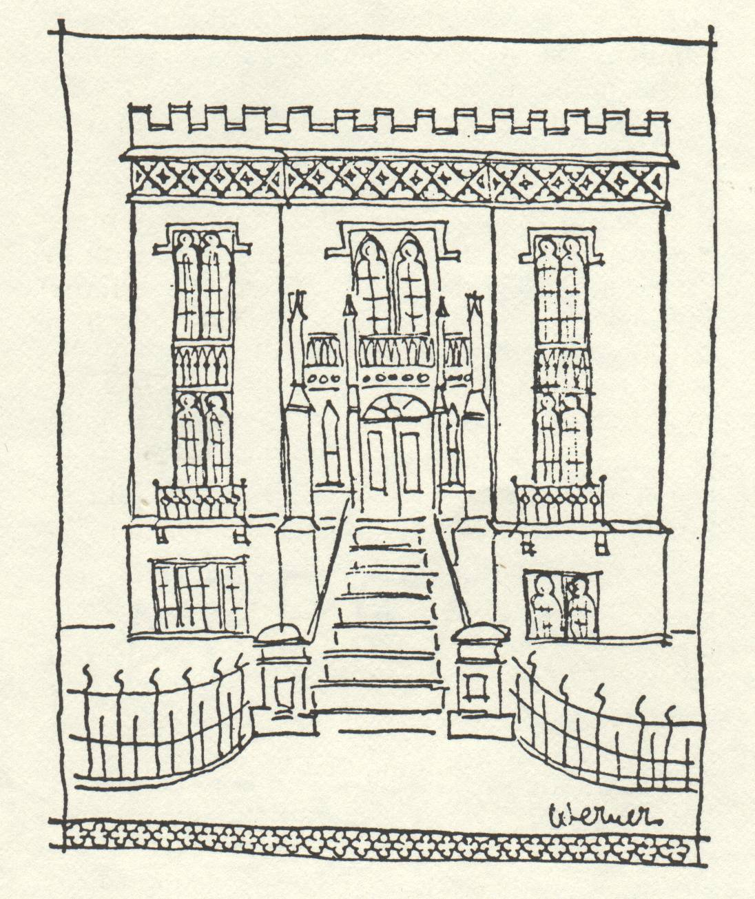 ornate drawing of a building