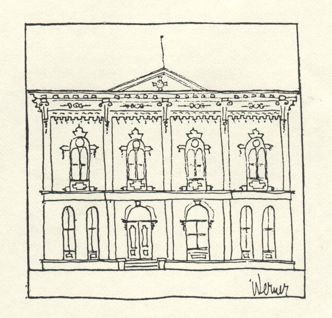 drawing of building with decorative front