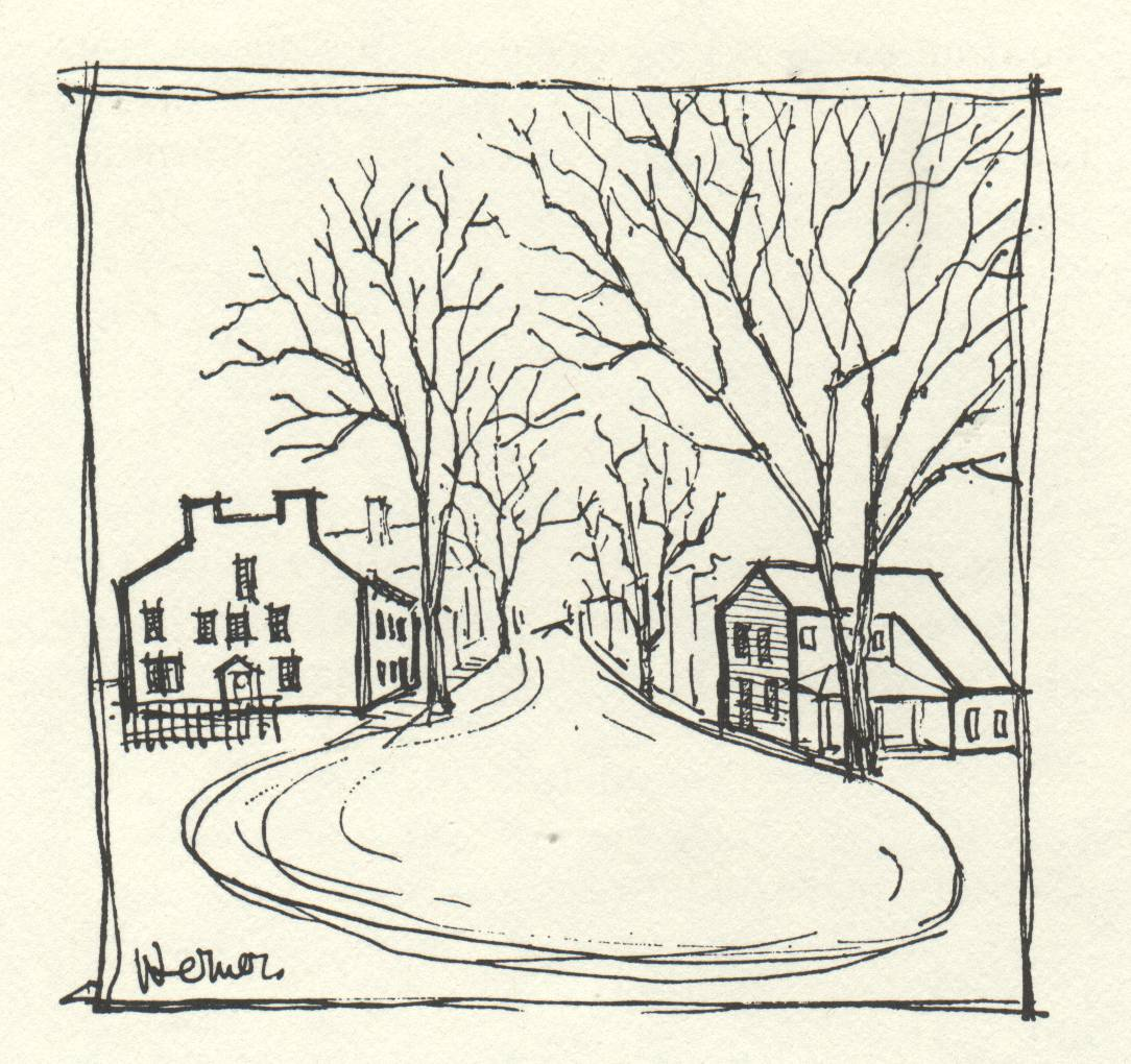 drawing of houses around a street