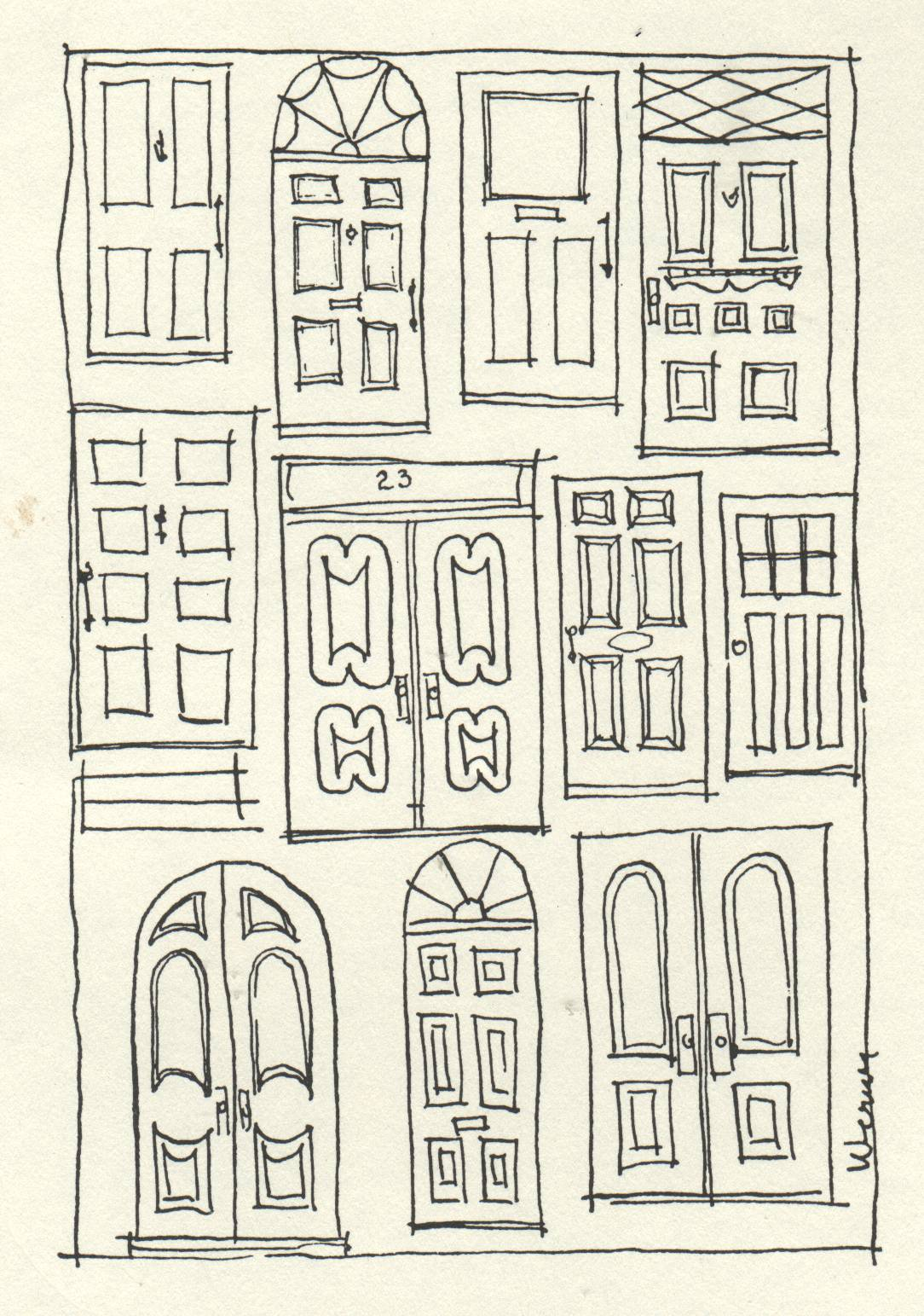 drawing of numerous styles of door