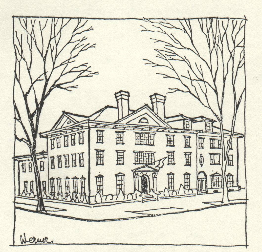 drawing of large building with two chimneys and many windows