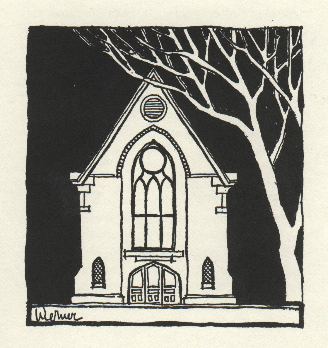 drawing of church building front