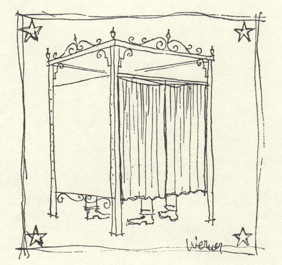 drawing of curtain around a voting booth