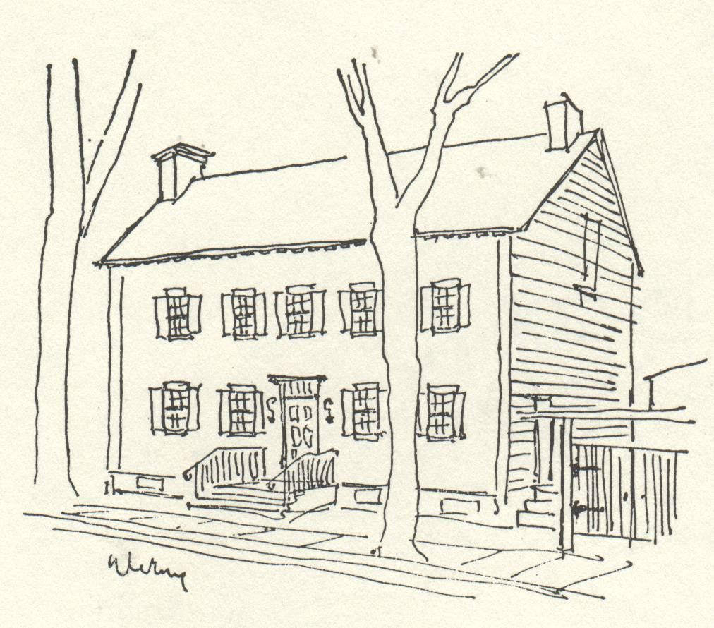 drawing of old house with trees