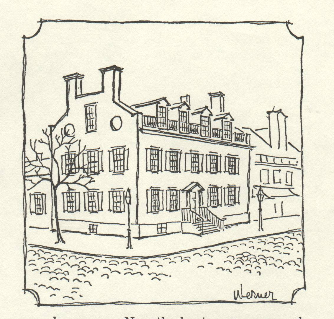 drawing of large building with many windows