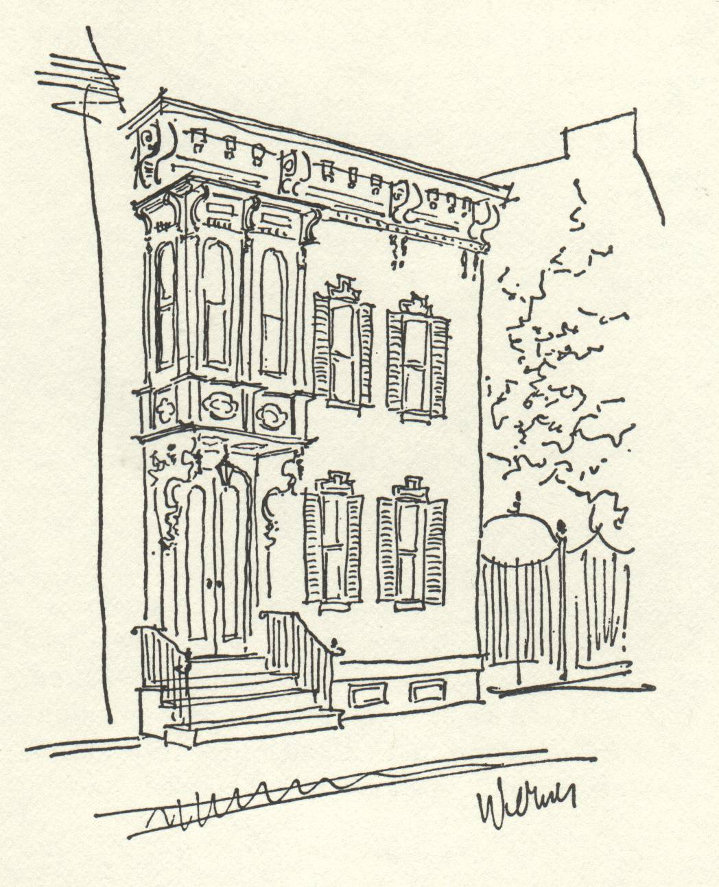 drawing of historic row house