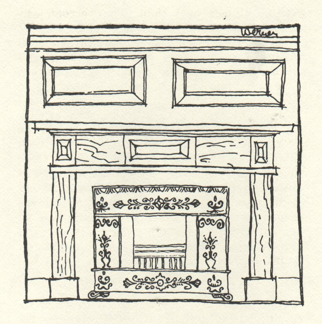 drawing of antique fireplace