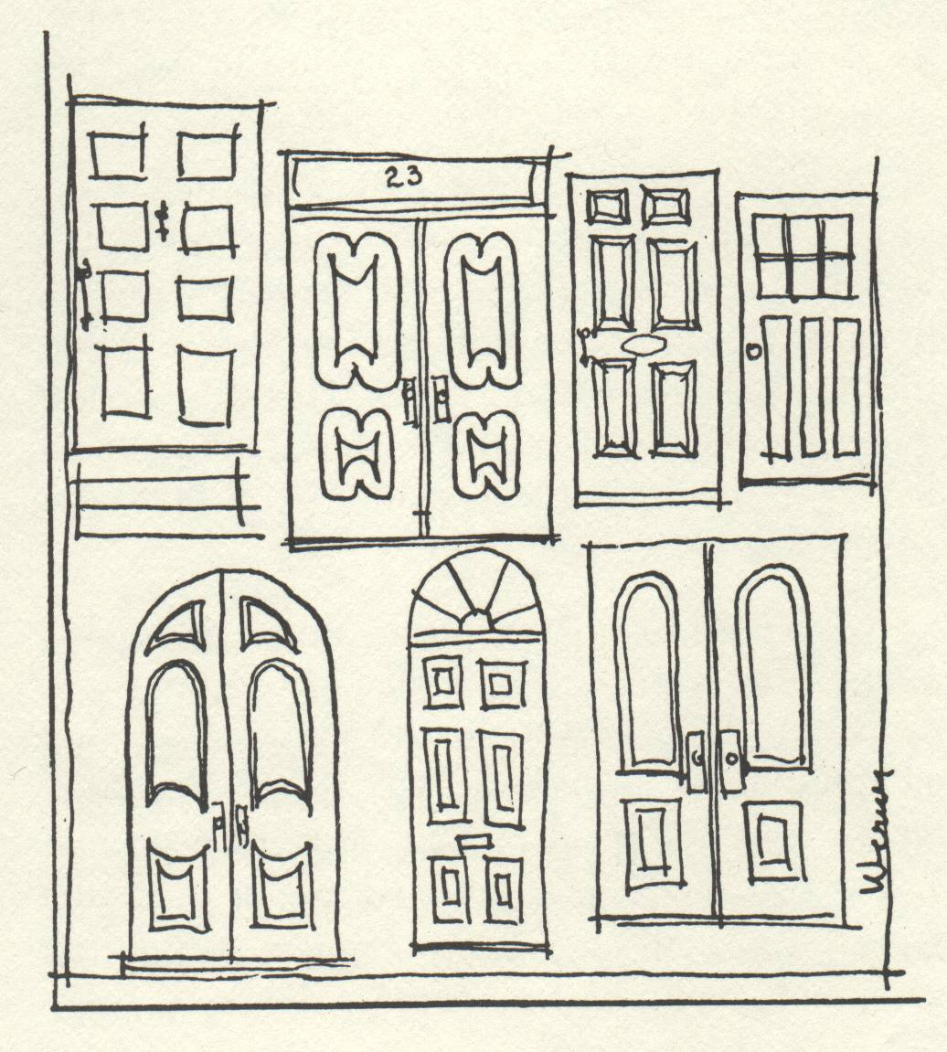 drawings of numerous old doors in different styles
