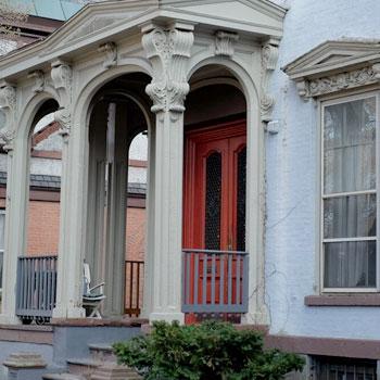 Red door cream columns