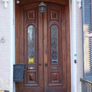 old wooden double door
