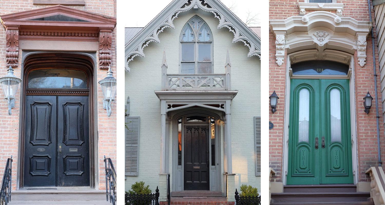 photos of three doors in a row