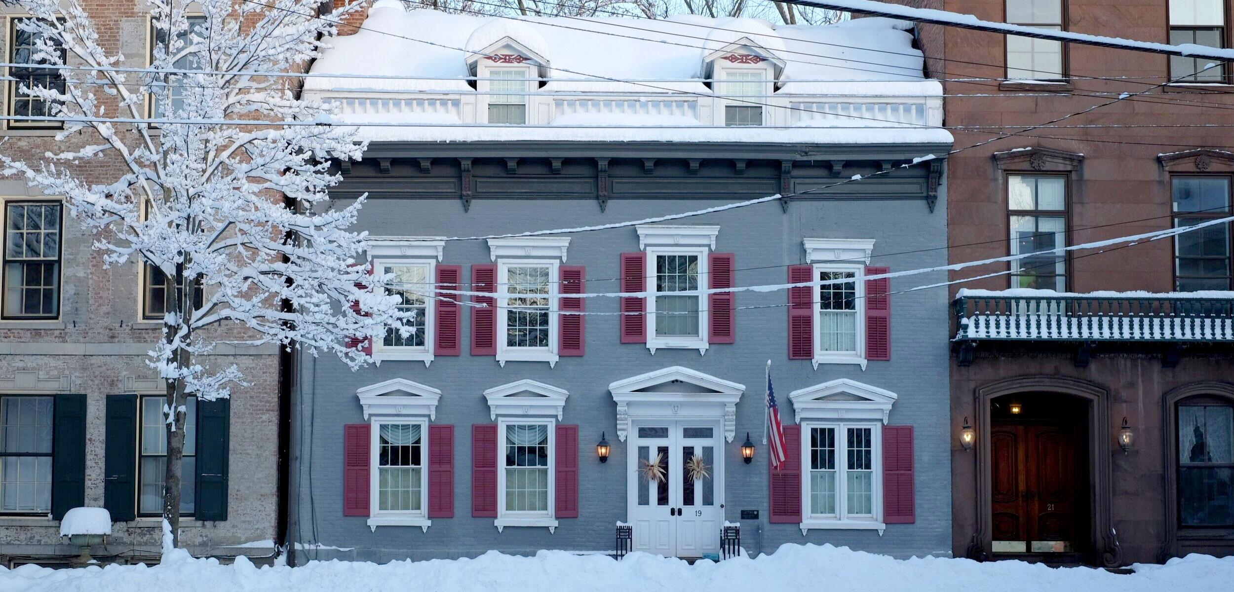 snowy blue brick building stockade