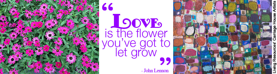picture and artwork of flowers with John Lennon quote that says Love in the flower you've got to let grow